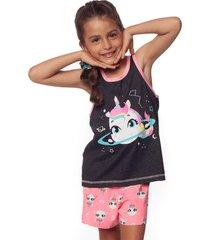 pijama regata nadador e shorts puket unicã³rnio chumbo e rosa - cinza/rosa - menina - dafiti