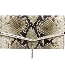 jimmy choo elish snake embossed leather clutch - beige