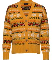 d2. winter fairisle cardigan gebreide trui cardigan goud gant