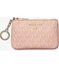 mk porta carte di credito extra-small con logo e portachiavi - ballet (rosa) - michael kors