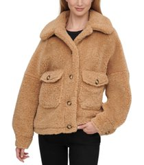 calvin klein button-front faux-sherpa teddy coat