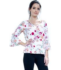 blusa 101 resort wear tunica decote v viscose flora