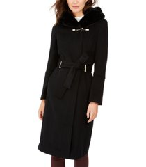 calvin klein faux-fur-trim belted hooded coat