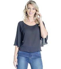 blusa manga ampla 7/8 alphorria feminina