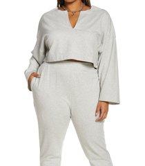 open edit split neck stretch cotton crop sweatshirt, size 2x in grey light heather at nordstrom