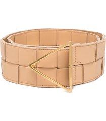 bottega veneta maxi intrecciato belt - neutrals