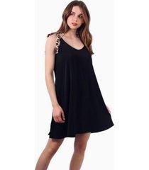 vestido bimba corto negro oabilos animal print jacinta tienda