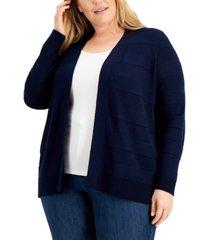 karen scott plus size cotton pointelle open-front cardigan, created for macy's