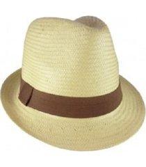 chapéu chapelaria vintage estilo panamá natural   aba curta   faixa marrom - kanui