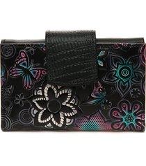 billetera pequeña 046 cuero tala negro flores