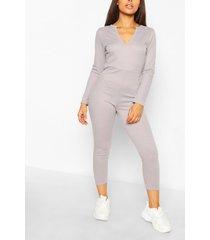 petite soft rib v-neck jumpsuit, grey