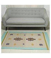 wool dhurrie rug, 'beach caravan' (4x6) (india)
