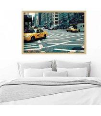 quadro love decor com moldura new york city madeira clara  grande - tricae