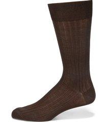 saks fifth avenue made in italy men's ribbed cotton dress socks - navy