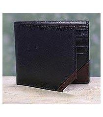 men's leather wallet, 'diagonal black' (india)