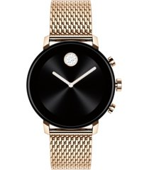 movado connect 2.0 pale rose-gold stainless steel mesh bracelet touchscreen smart watch 40mm