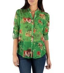 women's kut from the kloth jasmine top, size small - green
