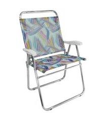 cadeira de praia king zaka em alumínio até 140 kg aquarela