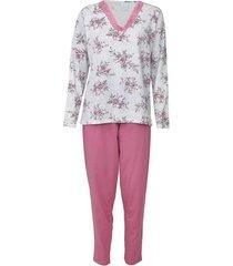 pijama pzama floral cinza/rosa - cinza - feminino - algodã£o - dafiti