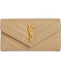 women's saint laurent monogram logo leather flap wallet - beige