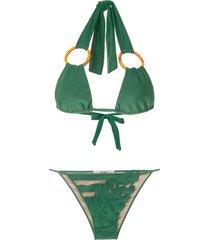 adriana degreas panelled bikini set - green