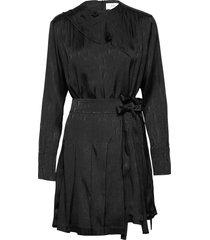 pleated silk blend jacquard dress korte jurk zwart victoria victoria beckham
