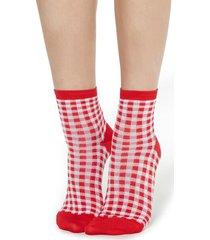 calzedonia fancy socks with geometric pattern woman red size tu