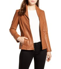 women's cole haan lambskin leather jacket, size small - brown