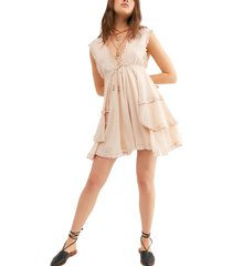 women's free people antoinette plunge neck tiered dress, size small - pink