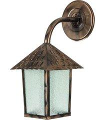 arandela colonial quadrada vidro pontilhado com braço cobre - 102900-05 - blumenau - blumenau