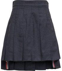 thom browne asymmetrical pleated skirt in grey wool