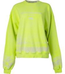 garment dye crew neck sweatshirt neon celandine