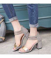 sandalias con tacones cuadrados casual para mujer-gris