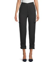 lea & viola women's twist-waist cargo pants - charcoal - size m