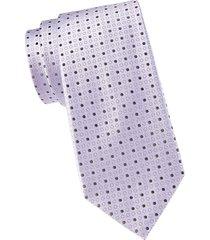 armani collezioni men's dotted silk & cotton-blend tie - lilac