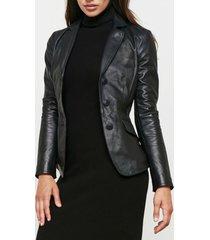 women black leather blazer formal slim fit genuine lambskin jacket all size