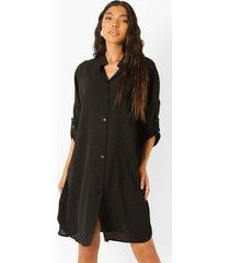 tall oversized long line blouse, black