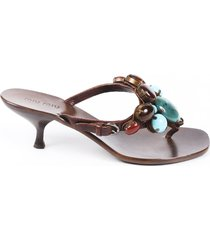 miu miu beaded leather thong sandals brown sz: 6.5