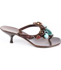 miu miu beaded leather thong sandals