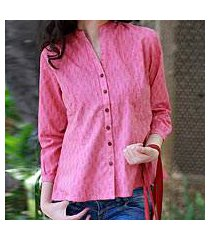 cotton blouse, 'rose of mangalgiri' (india)