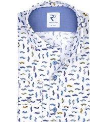 r2 shirt wit blauwe autoprint