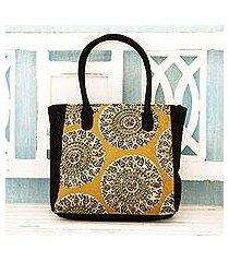 cotton tote bag, 'blossoming mandalas' (india)