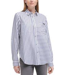 calvin klein jeans mixed stripe button-front shirt
