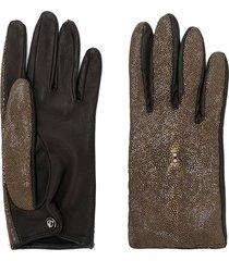 giorgio armani pre-owned metallic panelled glove - brown