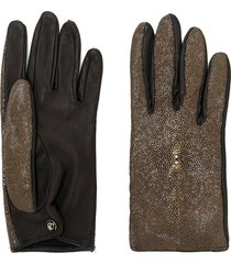 giorgio armani pre-owned metallic panelled glove - brown