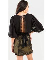 mckenzie crochet tie back blouse - black
