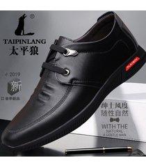 hombres zapatos de cuero básicos zapatos oxford con cordones casuales