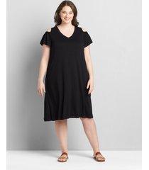 lane bryant women's cold-shoulder swing dress 34/36 black