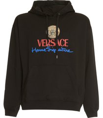 versace medusa and logo cotton hoodie