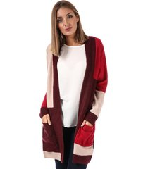 brave soul womens colourblock open cardigan size 16 in red